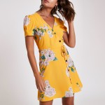yellow floral button through mini dress