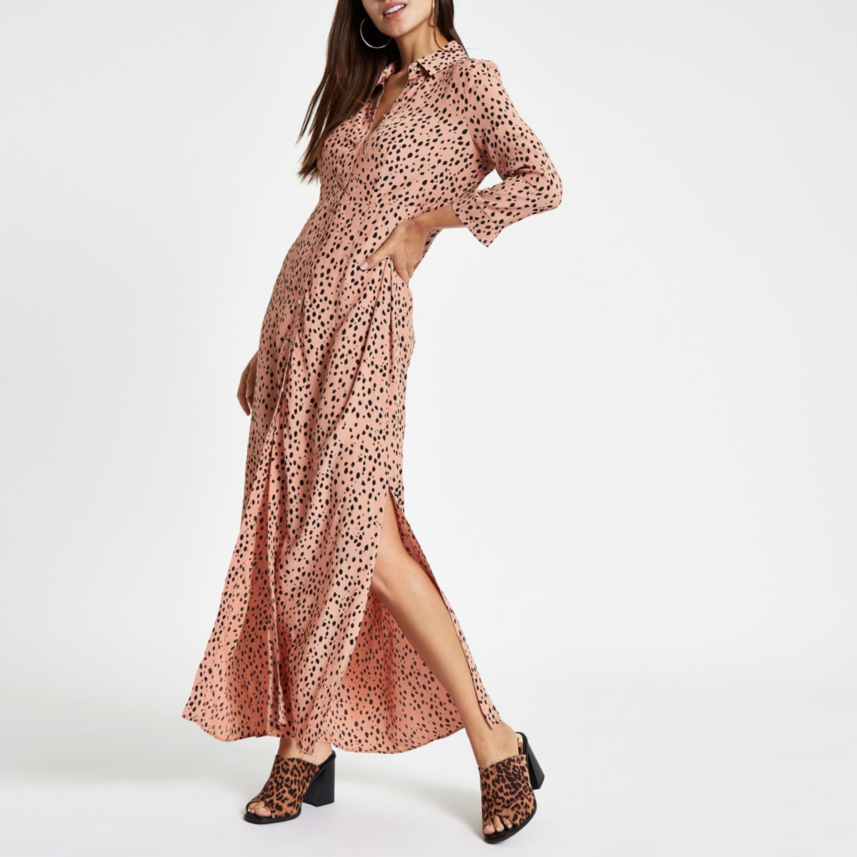 brown spot print shirt maxi dress
